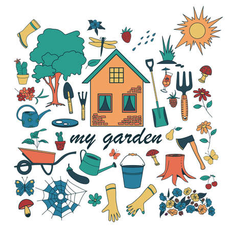 Gardening doodle set, hand drawn isolated design of gardening elements. Color set of garden tools