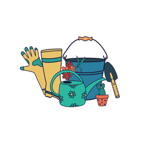Vector set of garden tools isolated on white background. Bucket, rubber boots, gloves, watering can, shovel. Flat cartoon illustration.