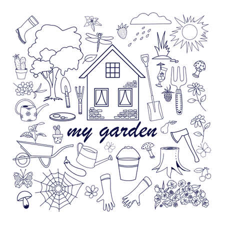 Vector gardening doodle set, hand drawn isolated design of gardening elements. Insects, vegetables, fruits, and gardening tool Ilustração