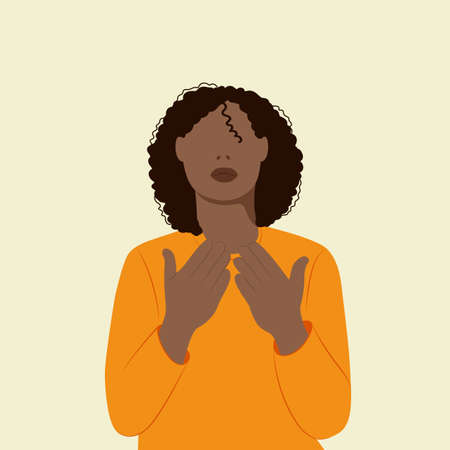 Black beautiful woman praying to god Ilustração