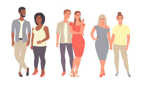 Diverse people group standing together on isolated white background.