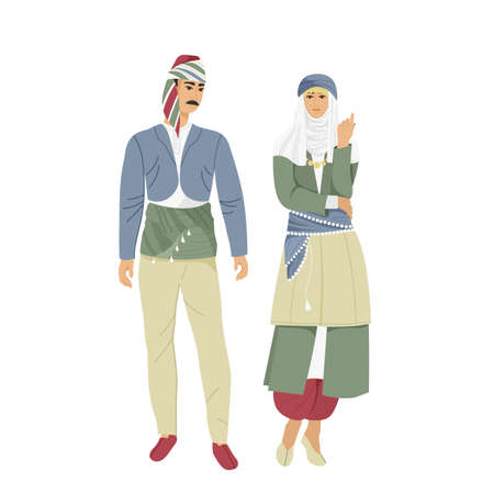 Man and woman in traditional Turkish costume,