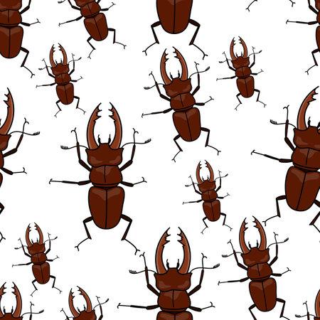 Stag beetle pattern seamless in simple style vector illustration Ilustração