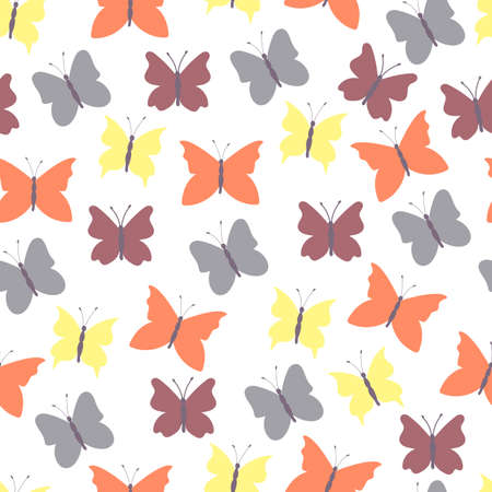 Abstract seamless background colored butterflies.Colorful flat design for fabric and textile. Ilustração