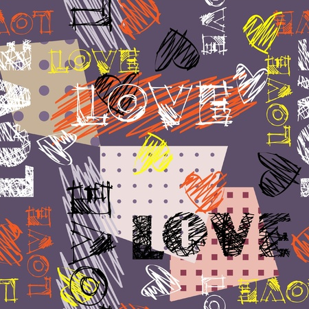 word love: art seamless graffiti background pattern
