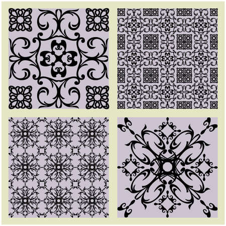 art vintage vector set of damask  pattern background photo