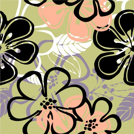 art vintage floral seamless pattern background  photo