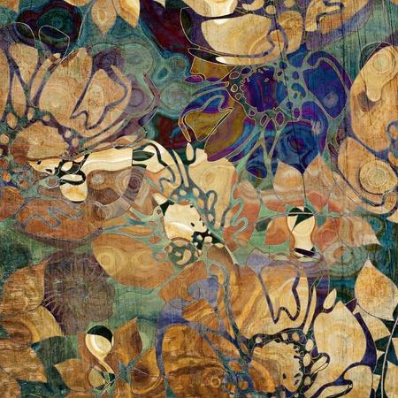 sepia: art floral ornament grunge background
