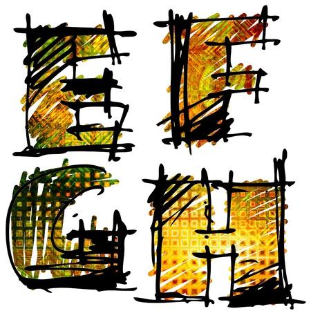 art sketching set of alphabet on white background 3d Stock Photo - 14595477