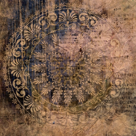 art vintage grunge background with damask  patterns