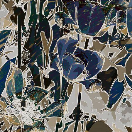 blue flowers: art grunge floral vintage background