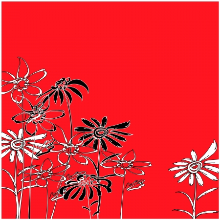 art sketching floral on red background .  photo