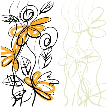 art sketching floral  background.  photo