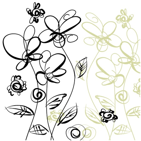art sketching floral  background.   Stock Photo