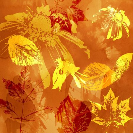 art floral and leaves autumn background card in gold and red photo