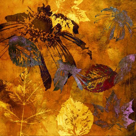 art floral and leaves autumn background card in gold and brown photo