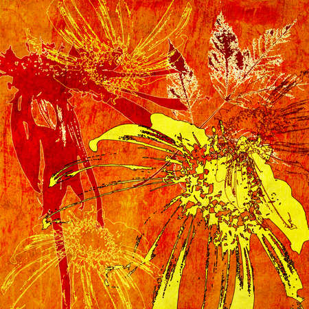 art floral autumn background card in gold and red Stock Photo - 17387894