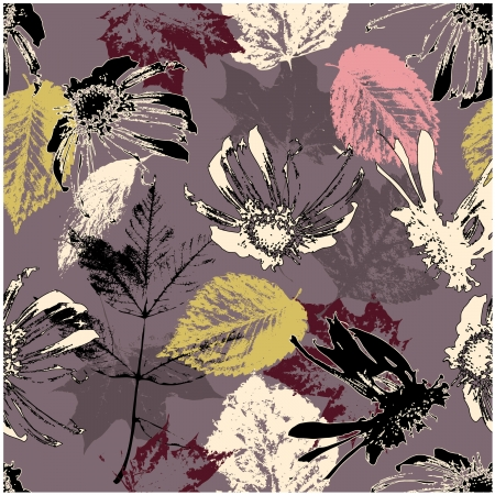 art sketching floral seamless pattern  background.   photo
