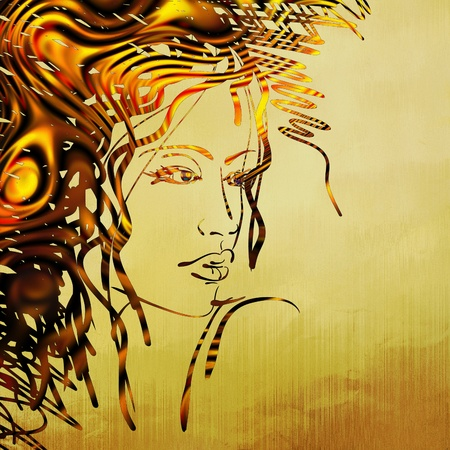 art colorful sketching beautiful girl face Stock Photo - 17387593