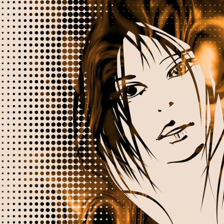 art colorful sketching beautiful girl face on halfton background photo