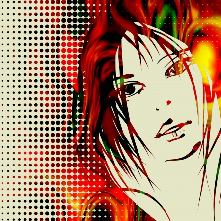 art colorful sketching beautiful girl face on red halfton background Stock Photo - 17386973