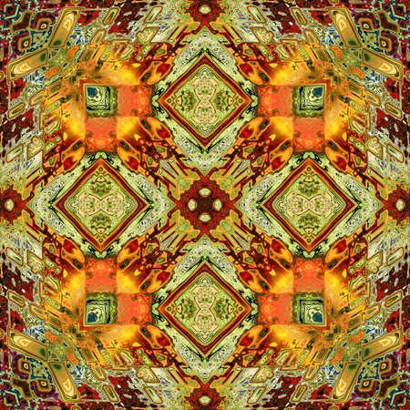 art eastern ornamental traditional pattern in green and orange  photo