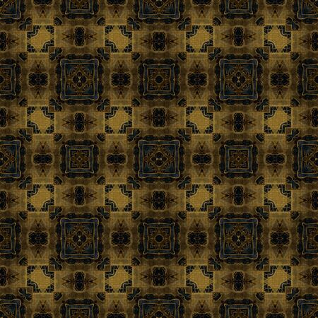 art nouveau geometric ornamental vintage pattern in brown and green photo