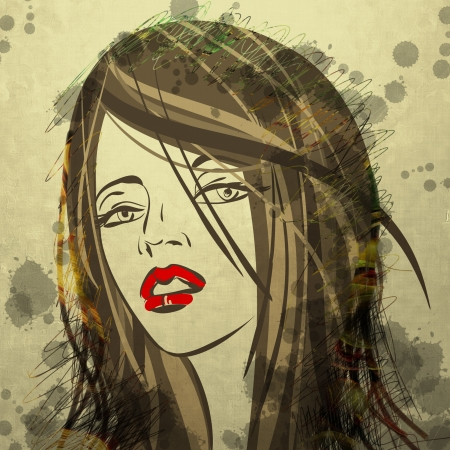 art colorful sketching beautiful girl face with golden hair on sepia background photo