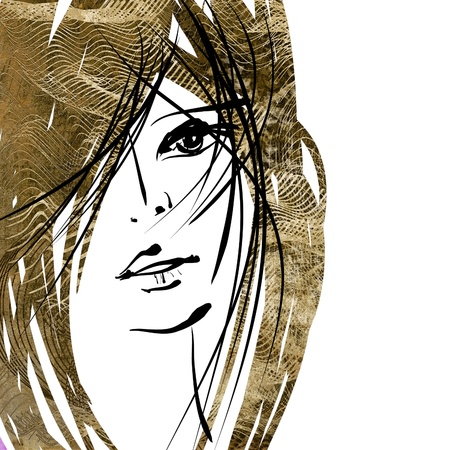 art colorful sketching beautiful girl face with sepia hair on white background