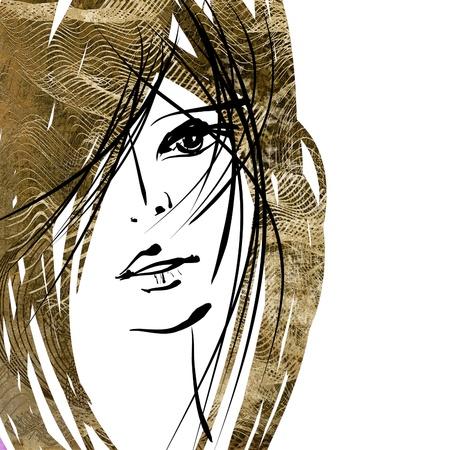 kunst kleurrijke schetsen mooi meisje gezicht met sepia haren op witte achtergrond