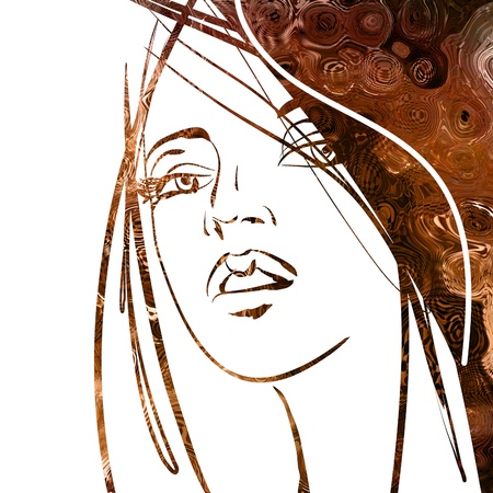 art colorful sketching beautiful girl face with brown hair on white background photo
