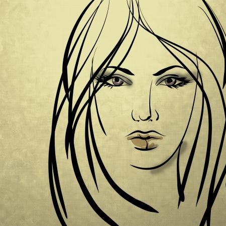gezicht: kunst kleurrijke schetsen mooi meisje gezicht op sepia achtergrond