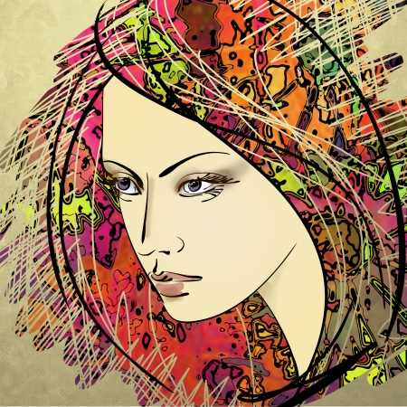 art colorful sketching beautiful girl face on sepia background photo