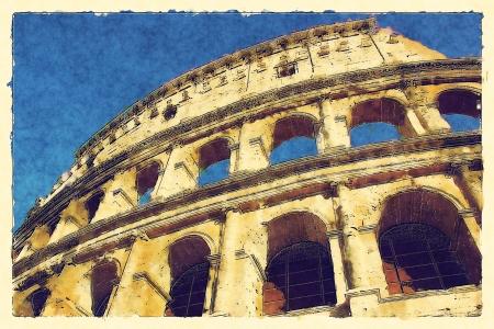 art background with european antique town, Coliseum photo