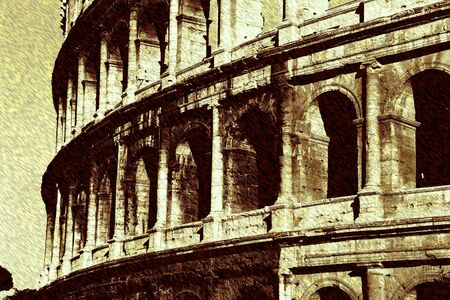 art background with european antique town, Coliseum photo