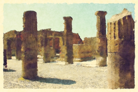 art background with european antique town, Pompeii photo