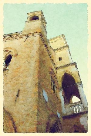 art background with european antique town photo