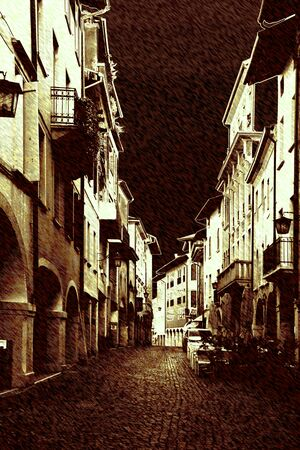 art background with europen antique town photo