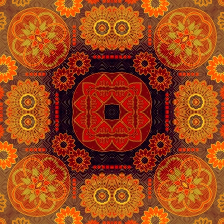 art eastern national traditional pattern in red colors photo