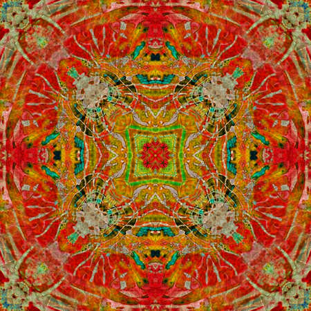 art eastern national traditional pattern in red and green photo