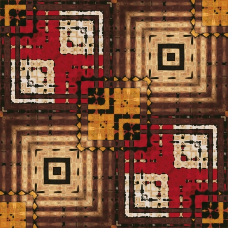 art eastern national traditional geometric pattern in brown and red photo