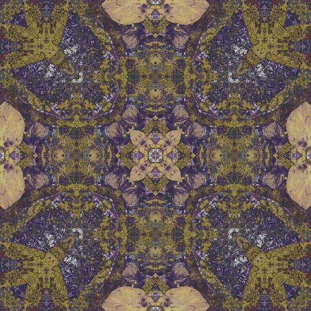batik: art nouveau colorful ornamental vintage pattern in blue Stock Photo