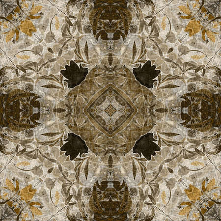 art nouveau colorful ornamental vintage pattern in brown photo