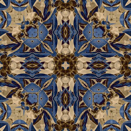 art nouveau colorful ornamental vintage pattern in blue Stock Photo - 17395520