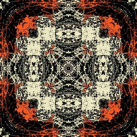 art vintage geometric ornamental orange and black pattern photo