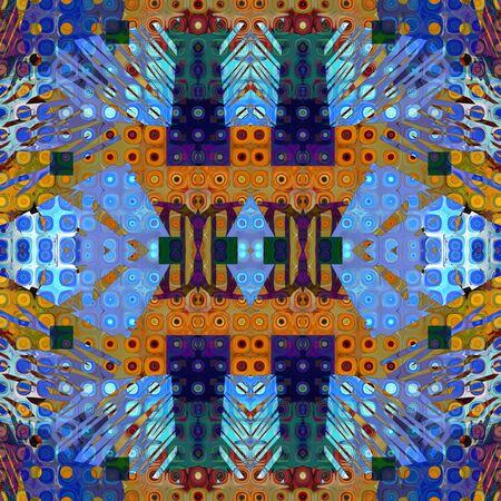 art vintage geometric ornamental pattern in blue color photo