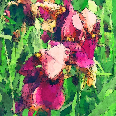 art floral colorful watercolor background  photo