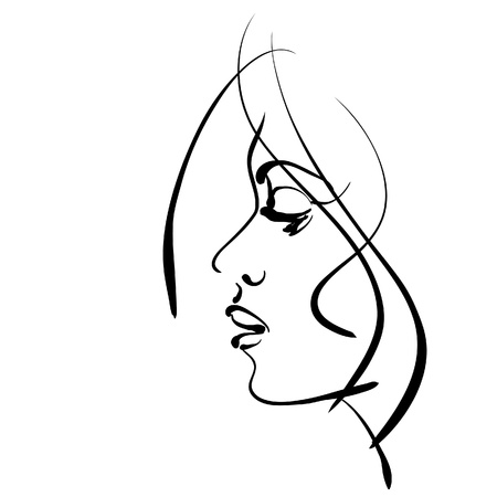 art sketching beautiful girl face symbols.  Stock Photo