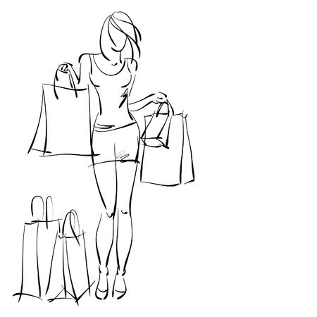 dress sketch: art sketching sale background with young woman in short skirt and space for text.  Stock Photo