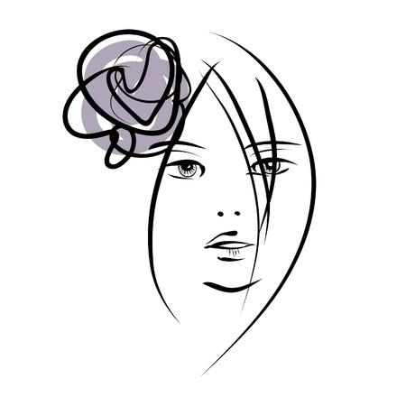 art sketching beautiful girl face symbols